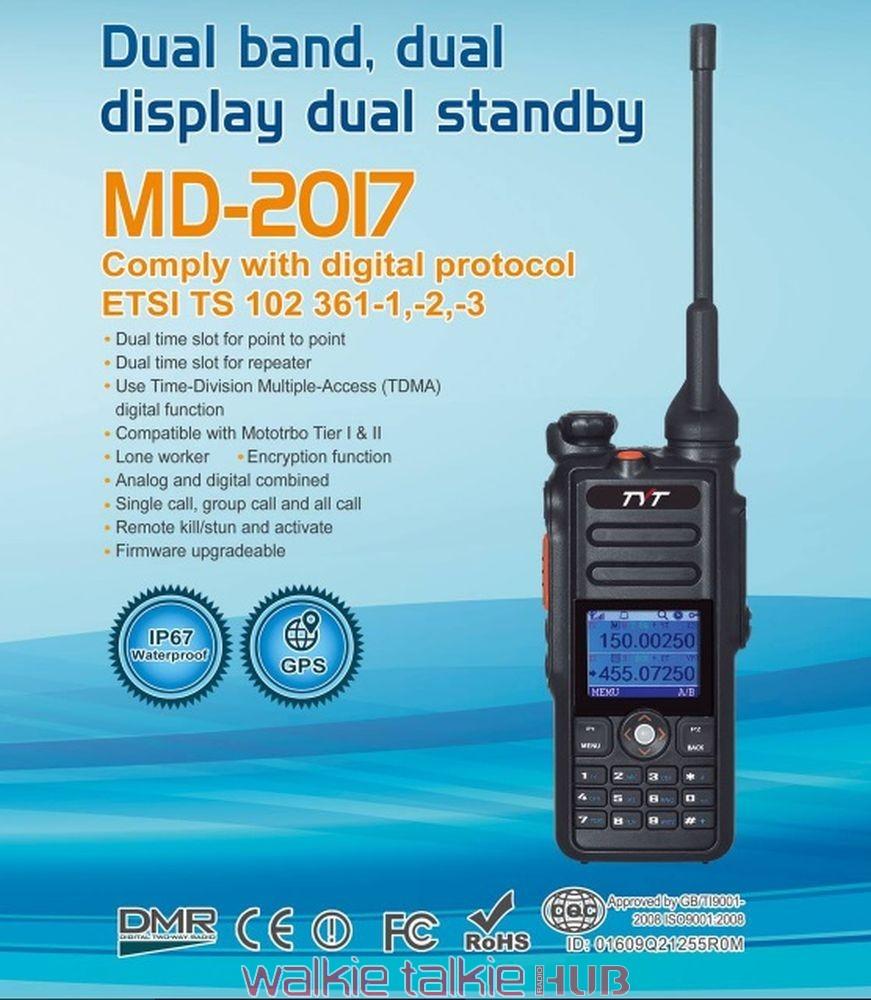 TYT MD-2017 Dual Band DMR IP67 Waterproof Digital Two Way Radio