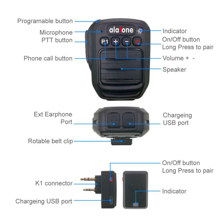 Cellphone HB980 Bluetooth Speaker Microphone for Motorola Kenwood Wouxun Baofeng TYT Two-Way Radio